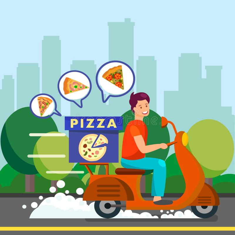 Courier Delivering Dinner to Suburbs Illustration. Delivery Man Driving Scooter on Road. Different Types of Pizza in Box. Courier Delivering Peperoni, Stagioni stock illustration