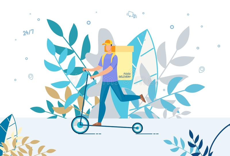 Courier Delivering Food Basket on Electric Scooter royalty free illustration
