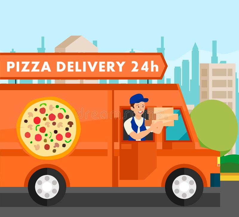 Courier Delivering Food Orders Vector Illustration royalty free illustration
