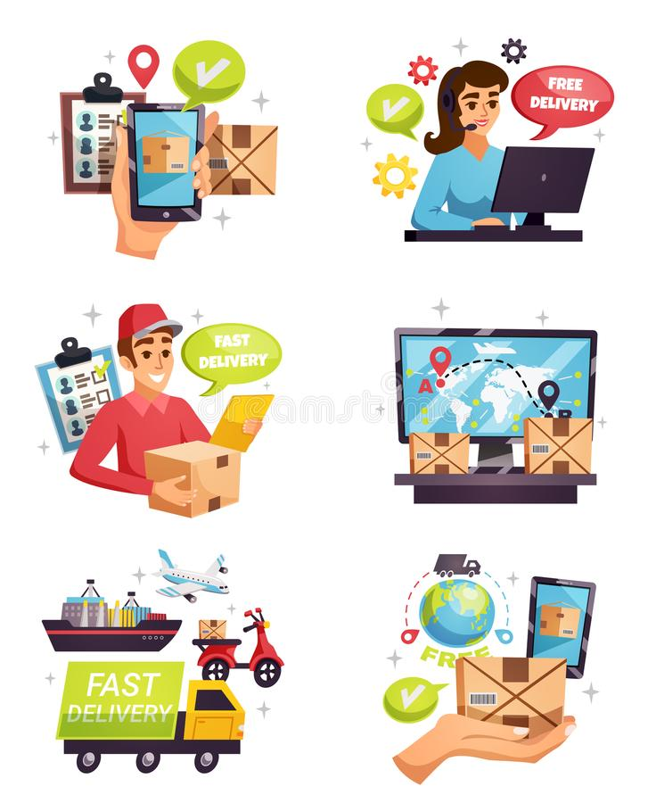 Courier Delivery Compositions Icons Set stock illustration