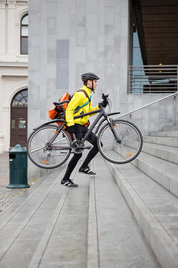 Download Courier Delivery Man With Bicycle And Backpack Royalty Free Stock Photos - Image: 36284508