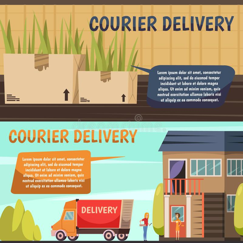 Courier Delivery 2 Orthogonal Banners stock illustration