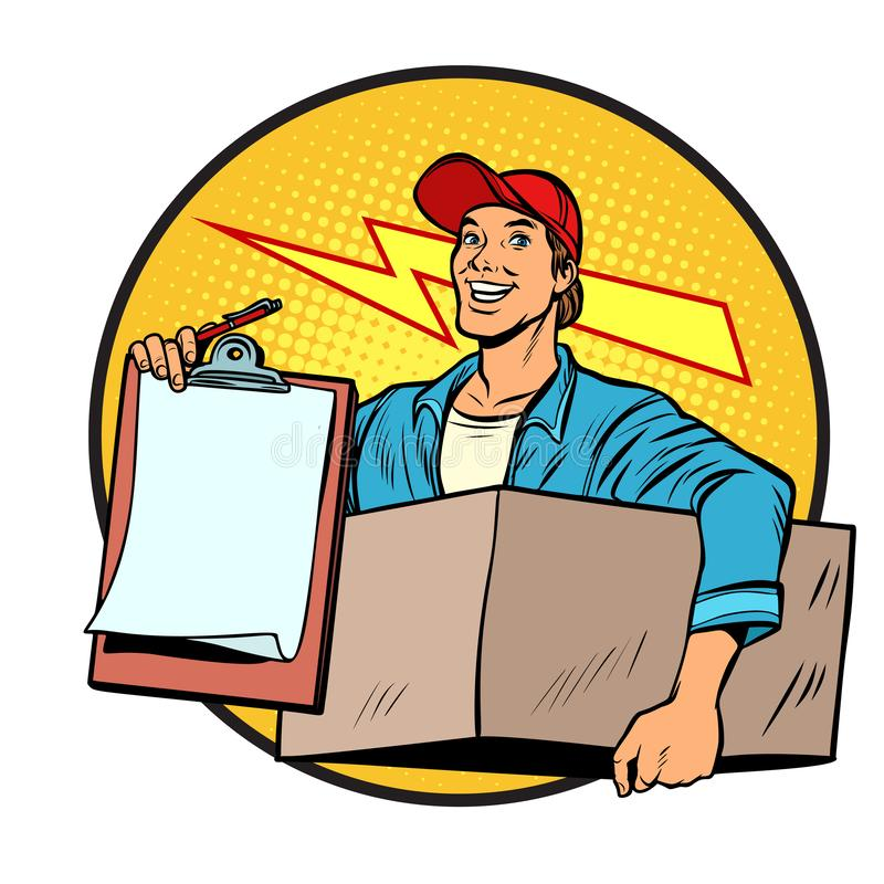 Courier. Delivery of parcels and mail. Postman. stock illustration