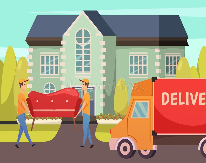 Courier Delivery Service Orthogonal Composition royalty free illustration