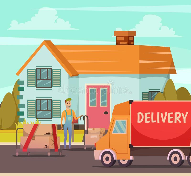 Courier Delivery Service Orthogonal Composition stock illustration