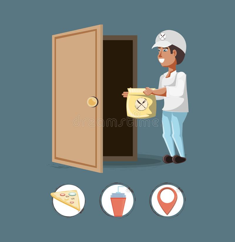 Courier delivery service with set icons icon vector ilustration stock illustration