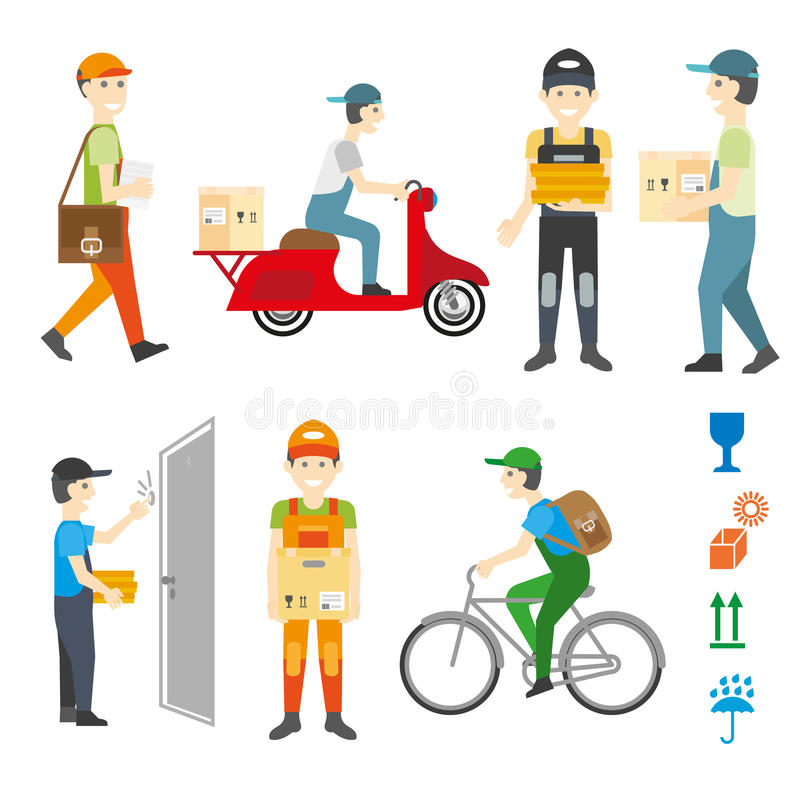 Courier and delivery service set. stock illustration