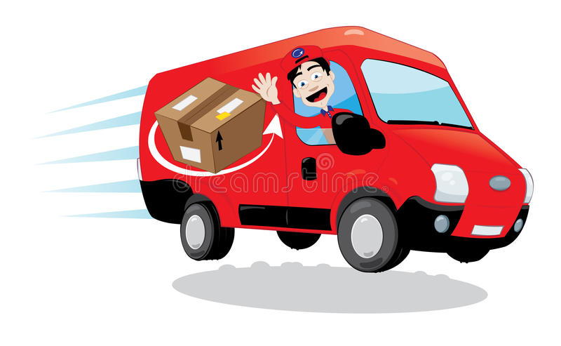 Courier driving a delivery van vector illustration