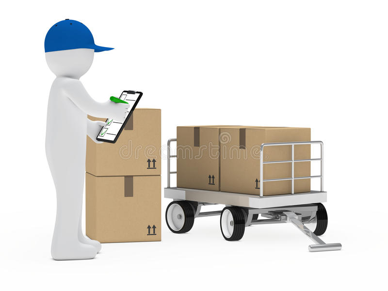 Courier Figure Trolley Royalty Free Stock Images