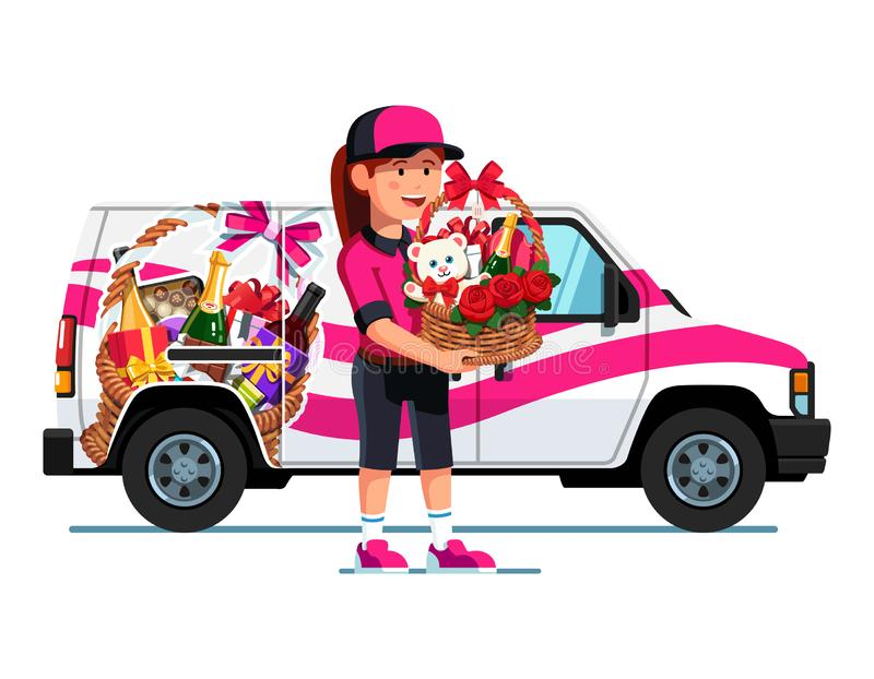 Courier girl holding present basket full of gifts. Smiling courier girl holding present basket full of gifts for woman. Delivery truck with advertising design royalty free illustration