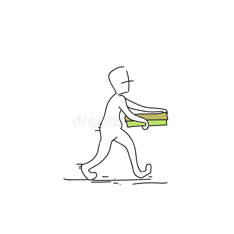 Courier Man Carry Pizza Box Food Delivery Service Doodle royalty free illustration