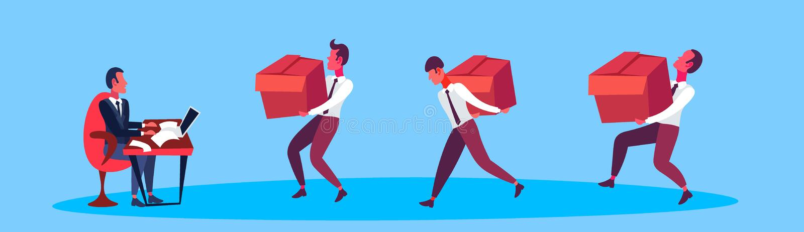 Courier men carrying box delivery package to businessman leader business men working together holding cardboard parcel vector illustration