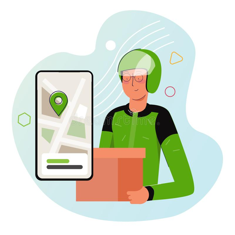 Courier from motorcycle ride-hailing service in Indonesia sending box of food to customer. Wearing green jacket and royalty free stock photos