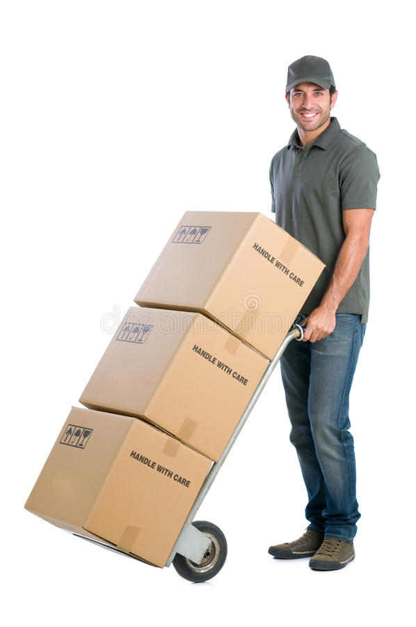 Courier moving boxes royalty free stock photography