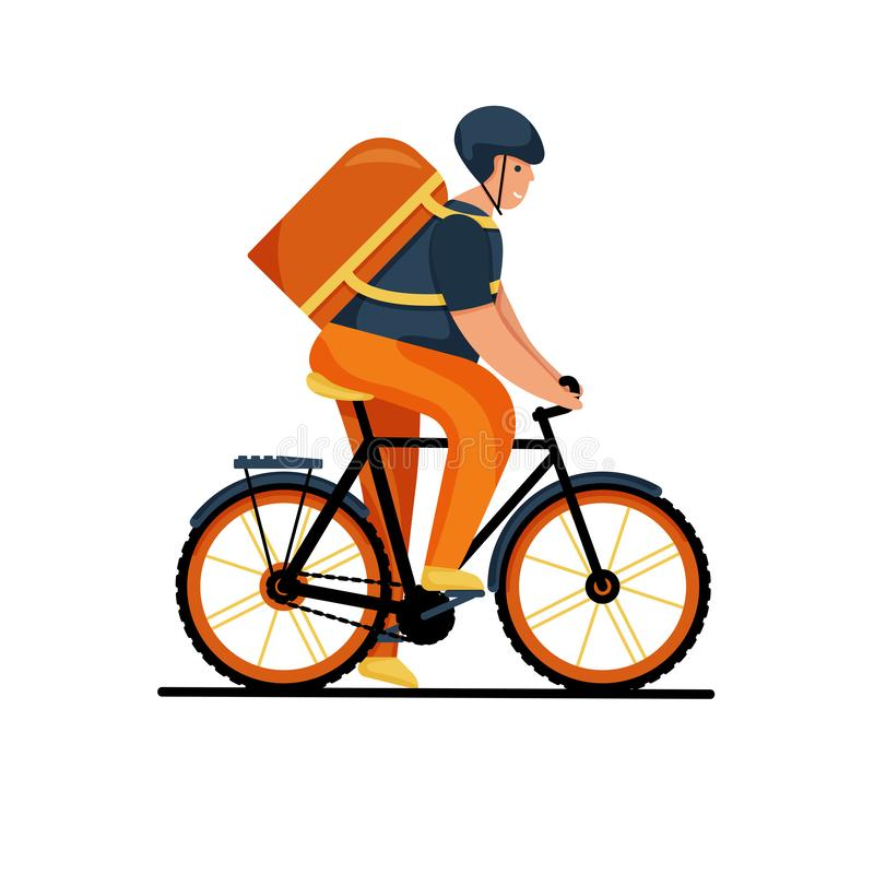 Courier person character riding a bicycle with a delivery box. Courier bicycle delivery service. stock illustration
