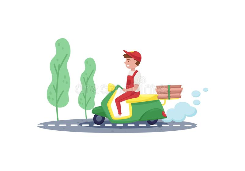 Courier riding on scooter with pizza boxes. Young boy in working uniform. Food delivery service. Flat vector design stock illustration