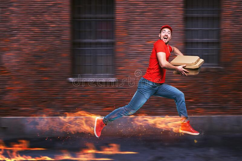 Courier runs fast to deliver quickly pizzas with fiery feet. Cyan background. Courier runs fast to deliver pizzas with fiery feet. Cyan background stock images
