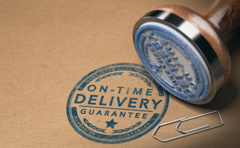 Courier Service, Image of On Time Delivery Guarantee vector illustration