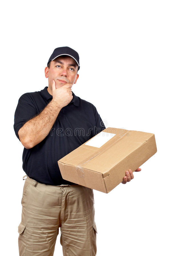 Courier thinking. A courier thinking for delivering a package on white background stock image