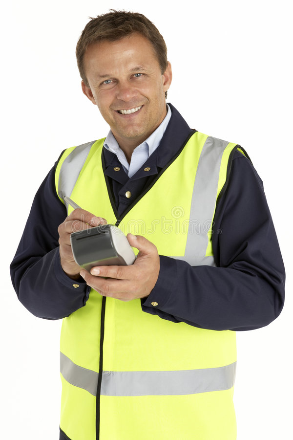 Download Courier Writing On An Electronic Clipboard Stock Image - Image: 8688097