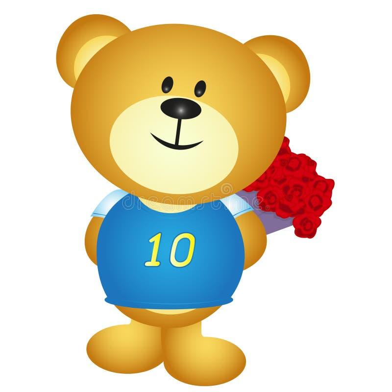 Couro cru dos desenhos animados do menino do urso um ramalhete da flor ilustração stock