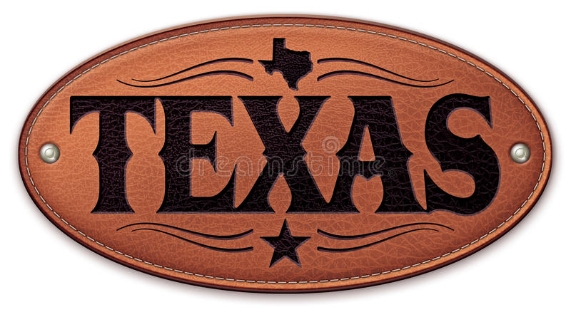 Couro da estrela do mapa do estado de Texas ilustração do vetor
