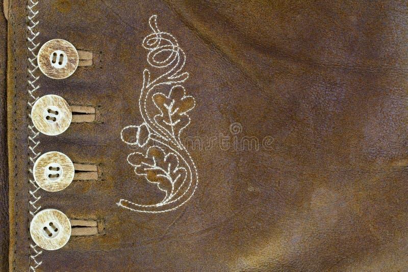Couro feito da pele da cabra com botões e o ponto feito a mão ilustração stock