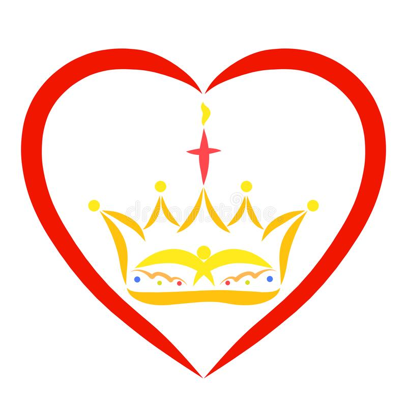 Couronne avec un oiseau et une croix dans un cadre sous forme de coeur illustration libre de droits