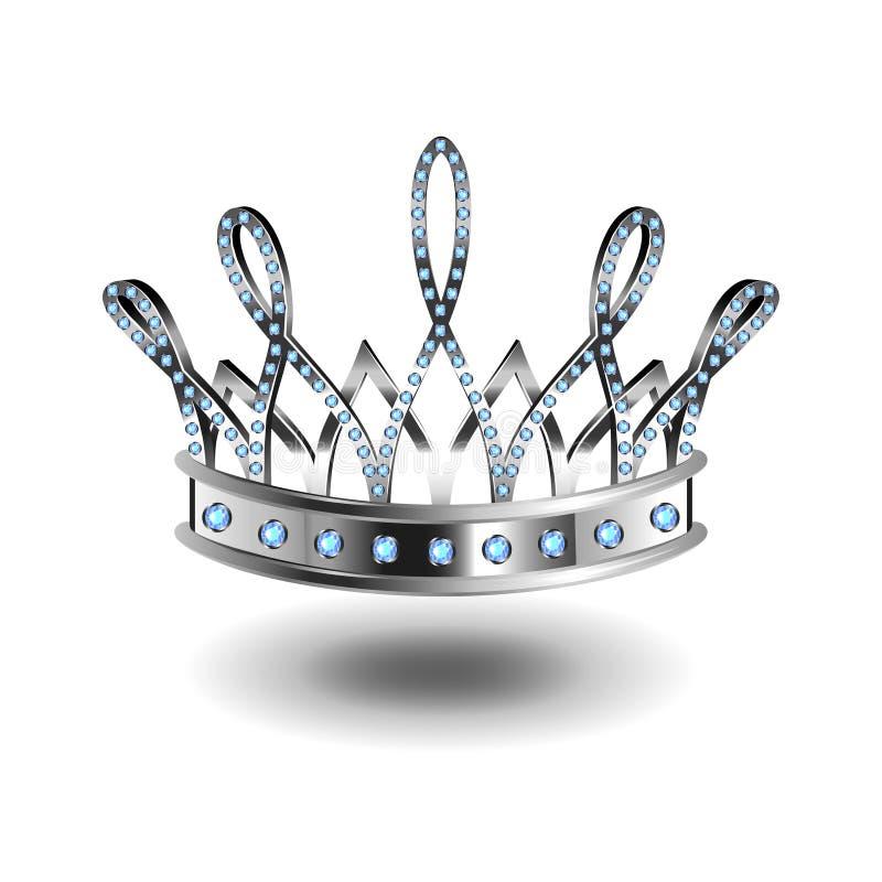Couronne d'argent de reine de beauté d'isolement sur le vecteur blanc illustration libre de droits