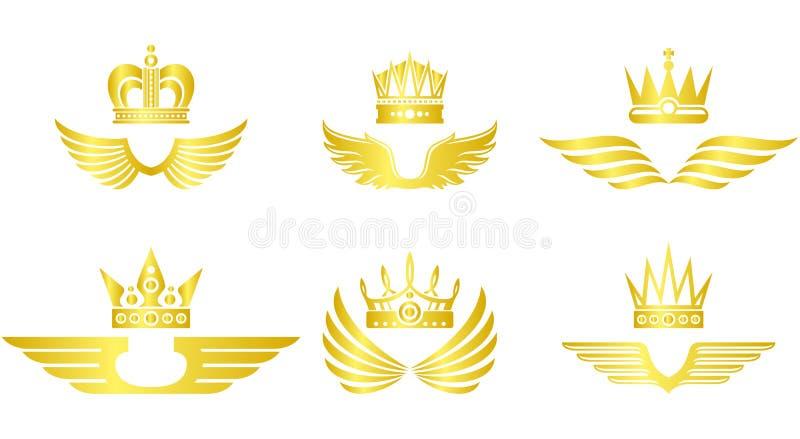 Couronne d'or avec le vecteur d'ailes illustration stock