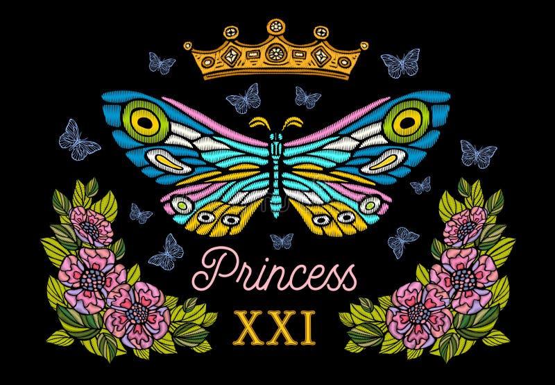 Couronne d'or, broderie colorée de papillons, flo de style de vintage illustration libre de droits