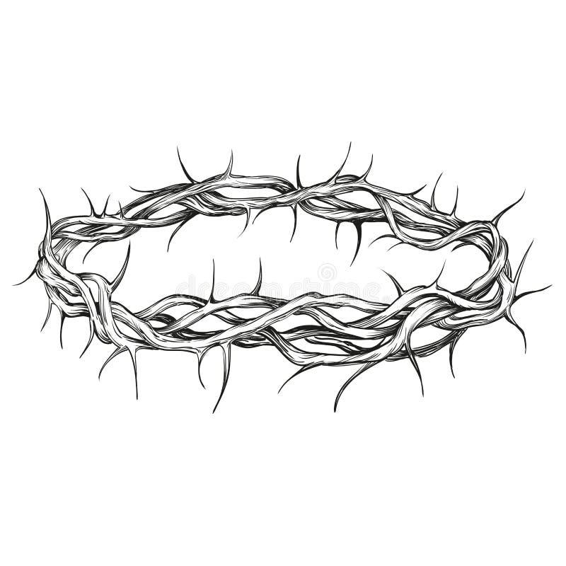 Couronne d'illustration tirée par la main de vecteur de symbole religieux d'épines illustration libre de droits