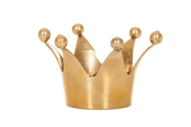 Couronne d'or royale d'isolement sur le fond blanc photo stock