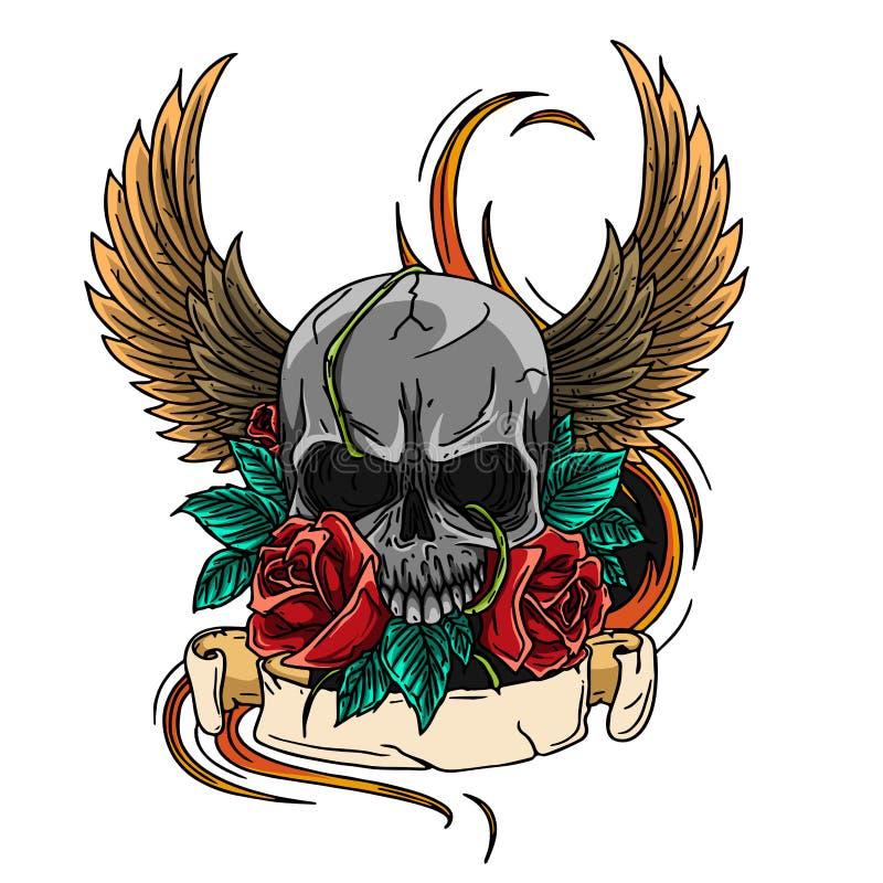 Couronne de conception de tatouage de symbole de crâne, guirlande de laurier, ailes, roses et bannière illustration de vecteur