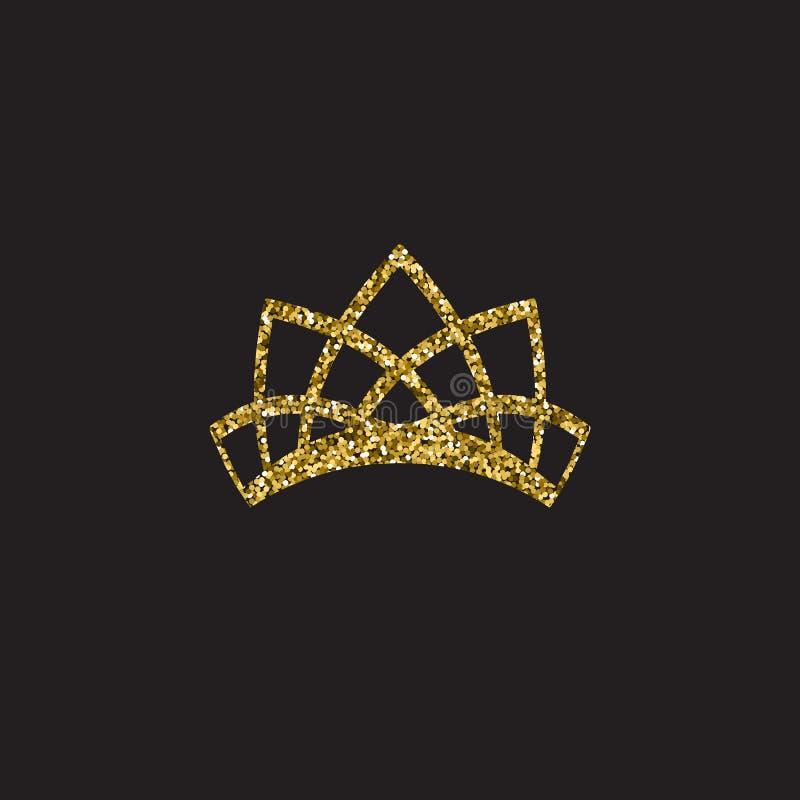 Couronne de reine, coiffe royale d'or Accessoire d'or de roi Illustrations d'isolement de vecteur Symbole de classe d'élite sur l illustration stock