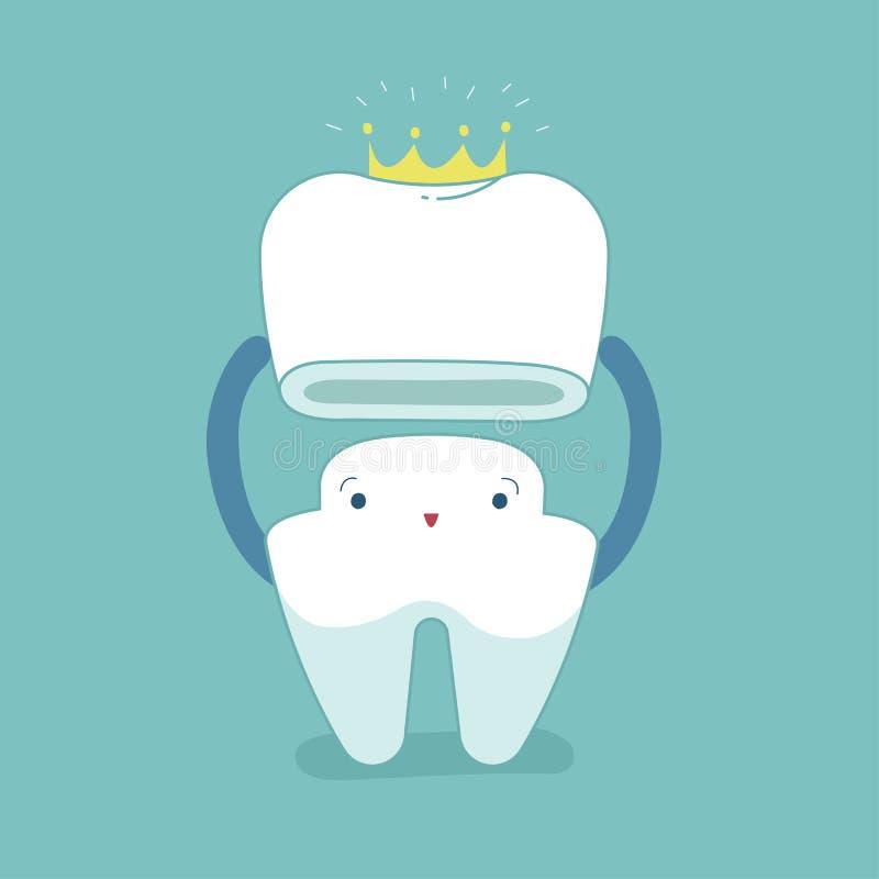 Couronne dentaire, dent mise dans la couronne, concept dentaire de bande dessinée illustration de vecteur