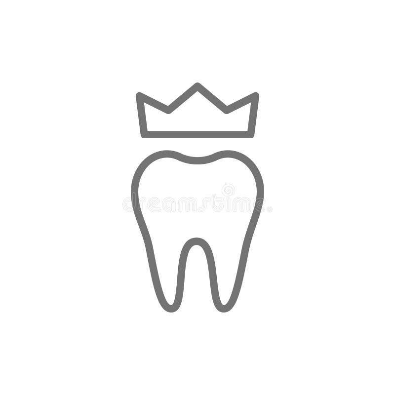 Couronne dentaire, ligne icône de dentier D'isolement sur le fond blanc illustration stock