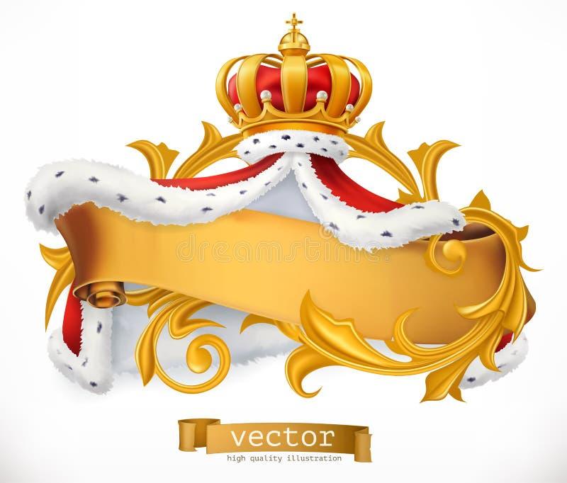 Couronne et manteau du roi vecteur du graphisme 3d illustration de vecteur