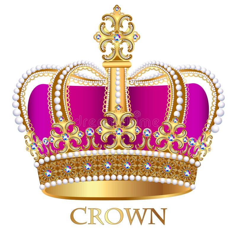 couronne impériale avec des bijoux sur un fond blanc illustration stock