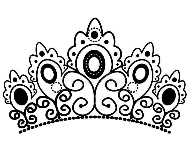 Couronne noire et blanche graphique avec le vecteur royal de lis et de diamants illustration stock