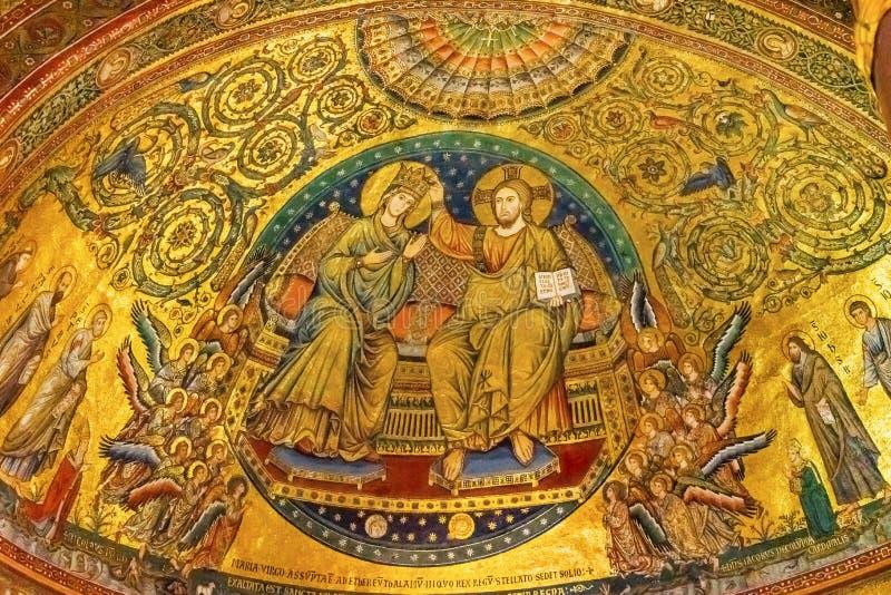 Couronnement antique Mary Mosaic Basilica Santa Maria Maggiore Rome Italie images libres de droits