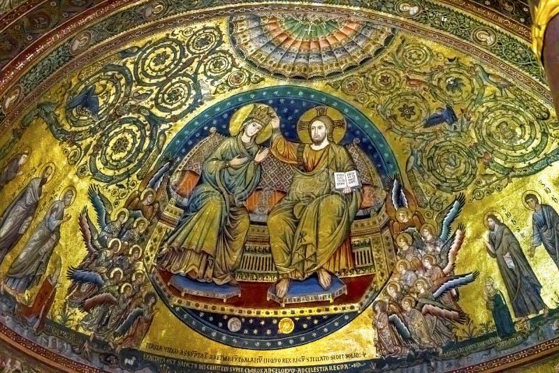 Couronnement antique Mary Mosaic Basilica Santa Maria Maggiore Rome Italie photos stock