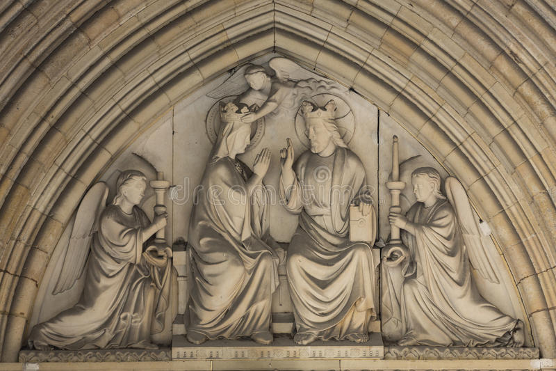 Couronnement de Paris - de Mary, tympan du Sainte Chapelle image libre de droits