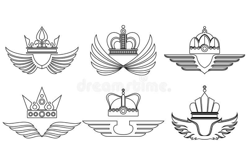Couronnes linéaires avec des ailes illustration de vecteur