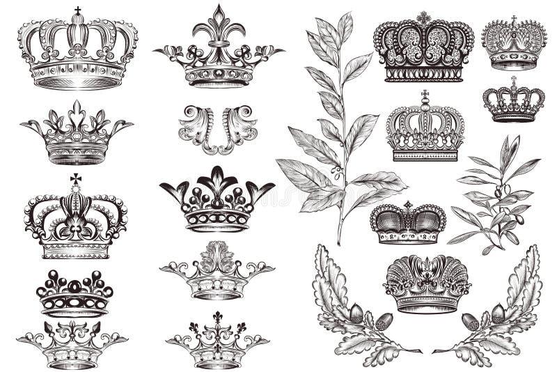 Couronnes réglées ou collection dans le style héraldique de vintage pour la conception illustration de vecteur