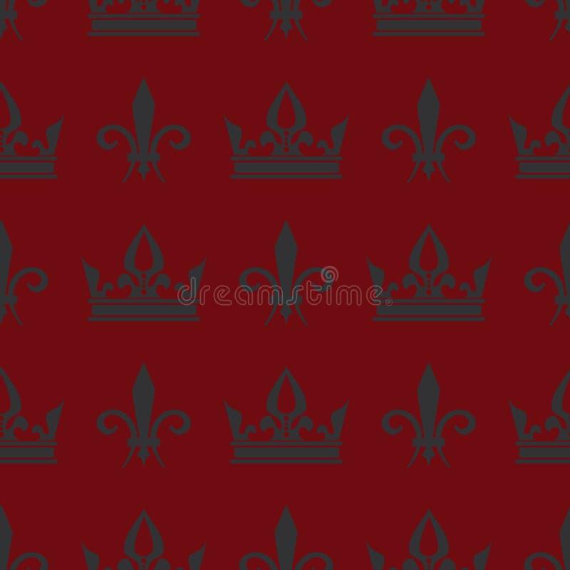 Couronnes rouges de vecteur et modèle sans couture de fleur de lis illustration de vecteur
