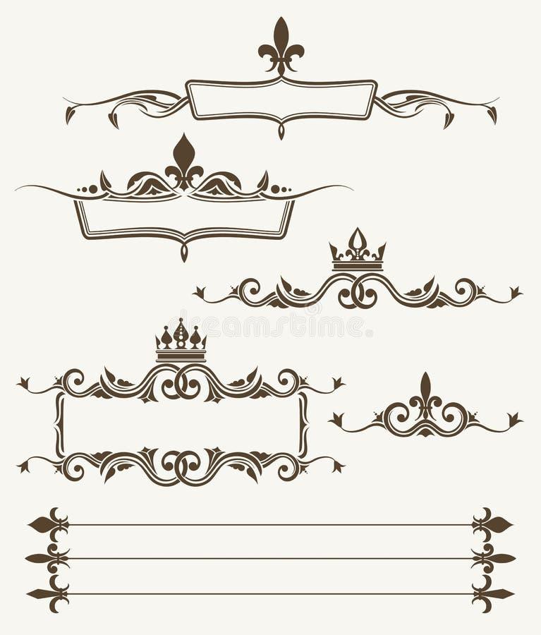 Couronnes royales et cadres fleuris de fleur de lys illustration de vecteur