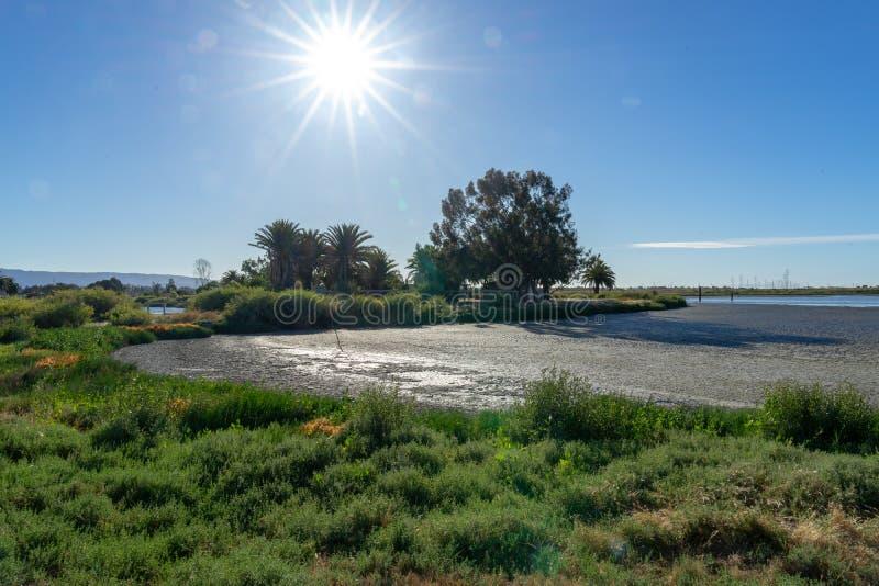 Courrier à haute tension, tour à haute tension au ciel gentil bleu - Palo Alto, la Californie, Etats-Unis image stock