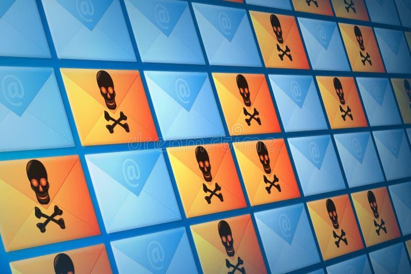 Courrier électronique d'email, de Spam et de virus illustration stock