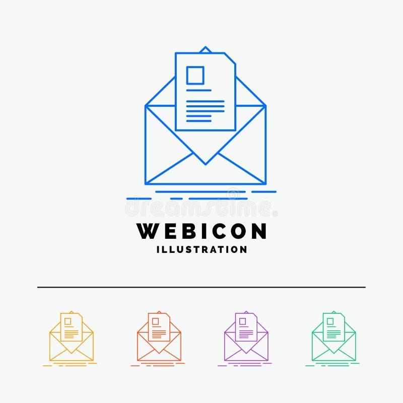courrier, contrat, lettre, email, discrimination raciale du briefing 5 calibre d'icône de Web d'isolement sur le blanc Illustrati illustration stock